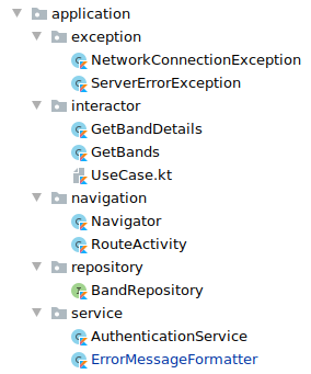 Screenshot showing the folders and files inside the application package. Folder exception with files NetworkConnectionException.kt and ServerErrorException.kt. Folder interactor with files GetBandDetails.kt, GetBands.kt, UseCase.kt. Folder navigation with files Navigator.kt and RouteActivity.kt. Folder repository with files BandRepository.kt. Folder service with files AuthenticationService.kt and ErrorMessageFormatter.kt