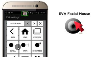 Screenshot of EVA Facial Mouse app showing a small camera preview, a mouse pointer, the action menu and the logo