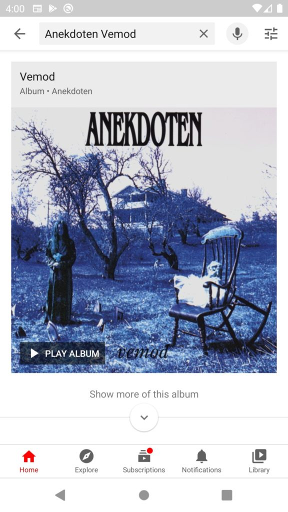 Screenshot of the YouTube app playing one of the albums.